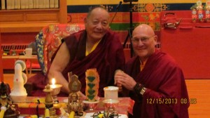 Khenpo Rinpoche and Lama Losang share a moment at KTD, December 2013
